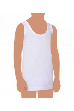 Girl's White Combed Cotton Undershirt Ages- 3-4