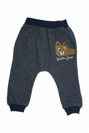 Boy's Embroidered Navy Blue Sweatpants