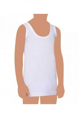 Boy's White Sleeveless Undershirt (Age 0-1)