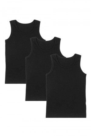 Boy's Black Sleeveless Undershirt- 3 Pieces