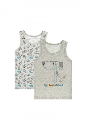 Boy's Best Friend Print Grey Sleeveless Undershirt- 2 Pieces