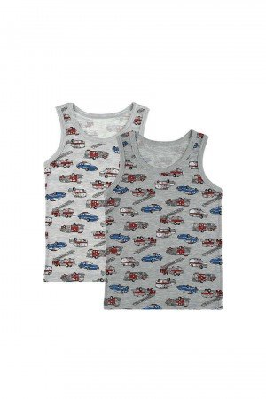 Boy's Car Print Grey Sleeveless Undershirt