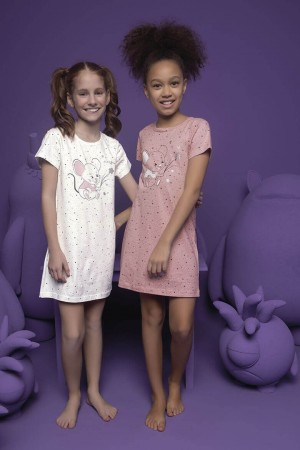Girl's Cute Mouse Print Nightgown
