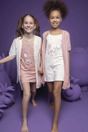 Girl's Mouse Print Nightgown & Morning Robe Set