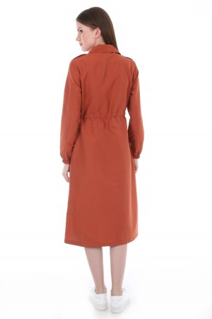 Women's Lace-up Waist Button Trenchcoat
