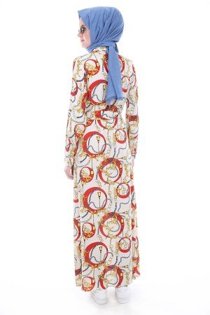 Women's Belted Button Patterned Dress