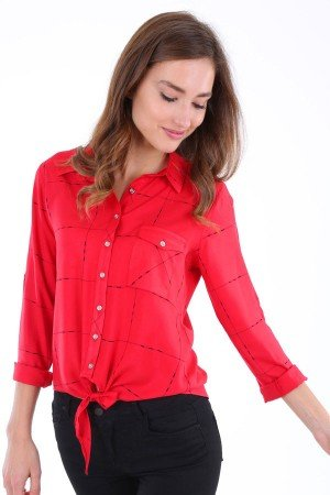 Women's One Pocket Tie Front Patterned Vermilion Shirt