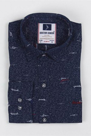 Ages 1-14 Boy's Roll-up Sleeves Navy Blue Slim Fit Shirt