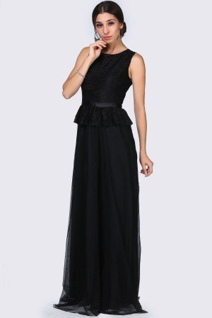 Lace Embroidered Top Zipped Back Black Evening Dress