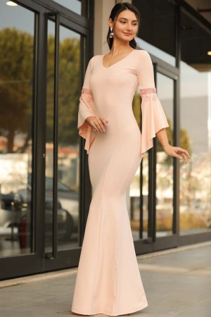 Flounce Sleeve Powder Evening Gown