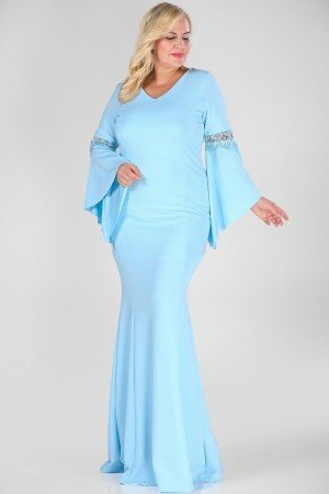 Big Size Blue Evening Gown