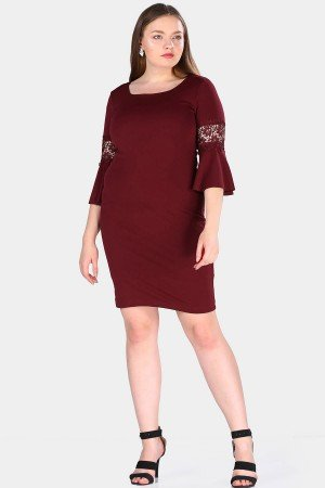 Back Button Claret Red Dress
