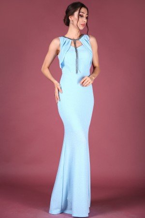 Accessory Detailed Silvery Blue Dress