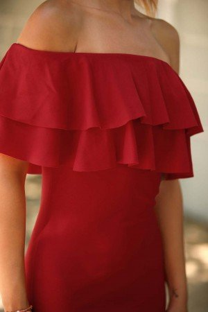 Boat Neck Red Evening Dress