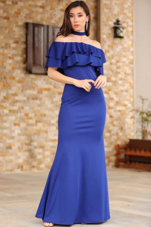 Boat Neck Saxe Evening Gown