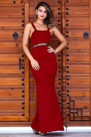 Women's Fish Model Red Evening Dress