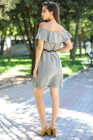 Boat Neck Striped Dress