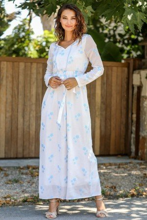 Women's Roll-up Sleeves Patterned Long Dress