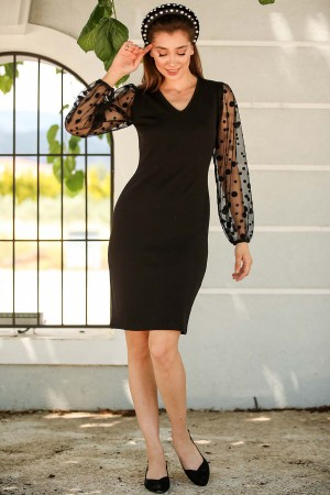 Women's Polka-Dot Sleeves Black Short Dress