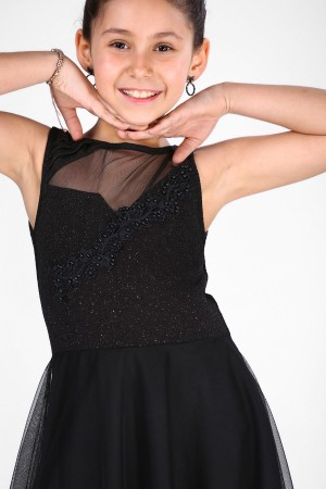 Girl's Black Evening Gown