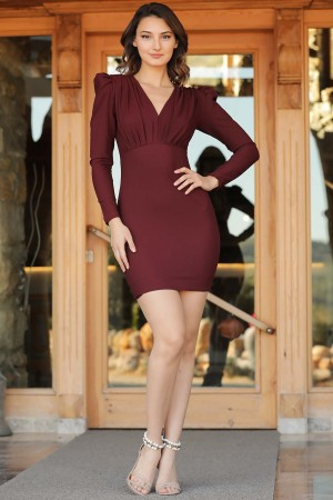 Women's Claret Red Short Dress