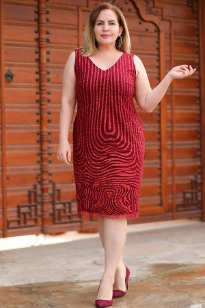Oversize Short Gemmed Claret Red Dress