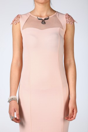 Back Buttoned Detailed Neck Accessory Powder Rose Evening Dress