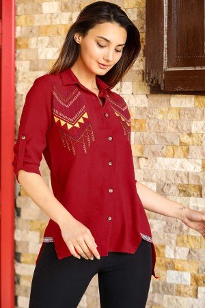 Women's Embroidered Red Shirt