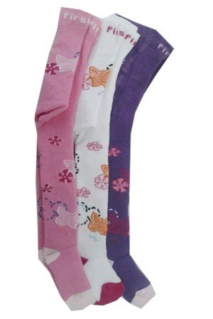 Girl's Printed Towel Pantyhose- 3 Pieces