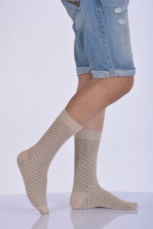 Men's Patterned Beige Bamboo Socket Socks- 3 Pairs