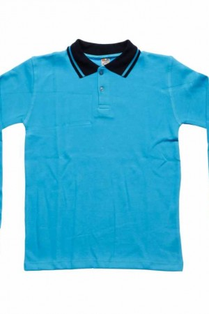 Age 6-18 Kid's Polo Collar Long Sleeves Turquoise Combed Cotton School T-shirt