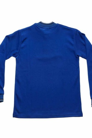 Kid's Neck Button Saxe Blue Combed Cotton Sweatshirt