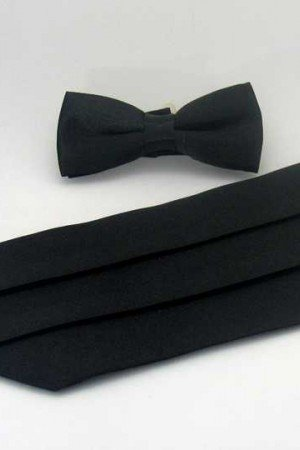 Boy's Plain Black Satin Belt Bowtie Set