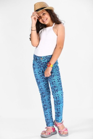 Girl's Patterned Turquoise Pants
