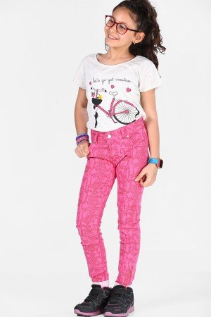 Girl's Pink Pattern Pants