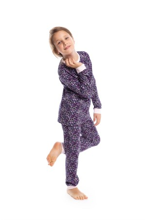 Girl's Lilac Star Pattern Black Pajama Set