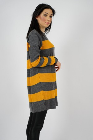 Women's Striped Mustard Grey Knit Sweater