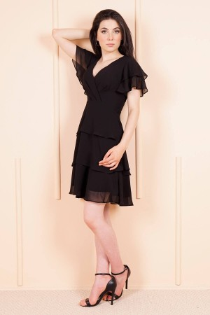 Women's Ruffle Black Chiffon Short Dress