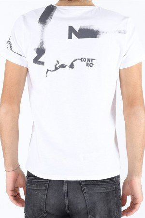 Men's V Neck Printed White T-shirt