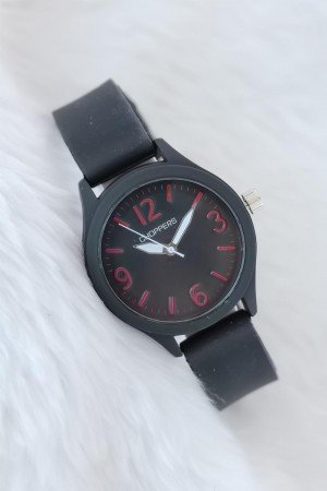 Women's Black Sports Case Silicone Corded Watch
