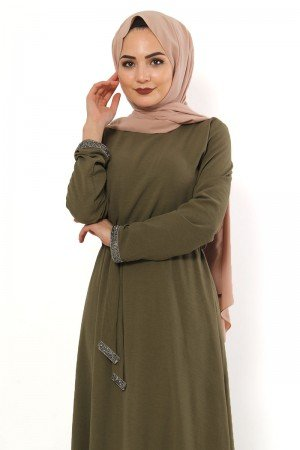 Women's Gem Embroidered Khaki Long Dress
