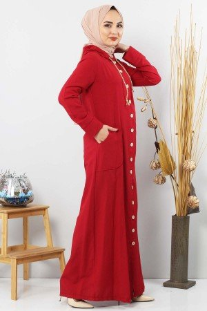 Women's Hooded Wooden Button Claret Red Abaya