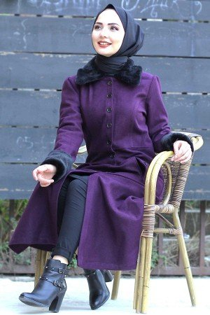 Women's Fur Detail Damson Cachet Coat