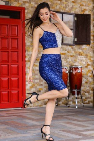 Women's Sequined Saxe 2 Piece Set