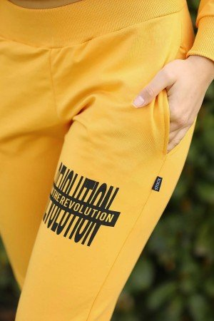 Women's Hooded Yellow Sweat Suit