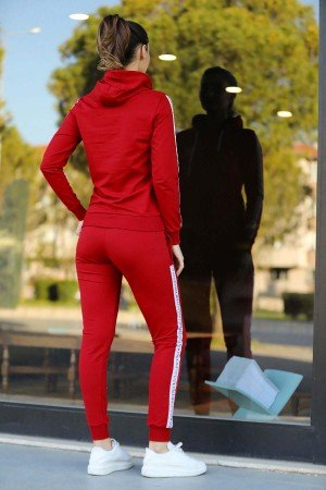 Women's Hooded Red Gray Sweat Suit