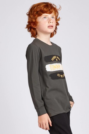 Boy's Printed Khaki Sweatshirt