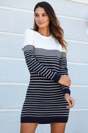 Crew Neck Patterned Tricot Tunic/ Dress