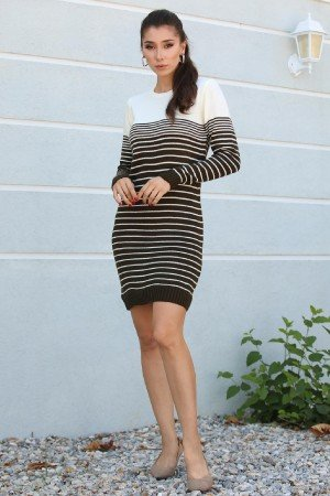 Crew Neck Patterned Tricot Tunic&Dress