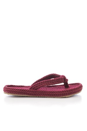 Women's Claret Red Straw Slippers